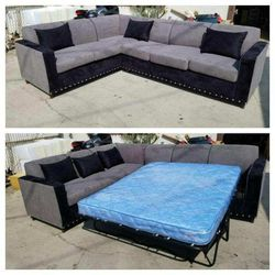 NEW 7X9FT CHARCOAL MICROFIBER SECTIONAL WITH SLEEPER COUCHES for Sale in Ontario,  CA