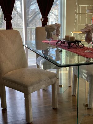 Glass dining room table with 4 Parsons chairs in great condition for Sale in Herndon, VA