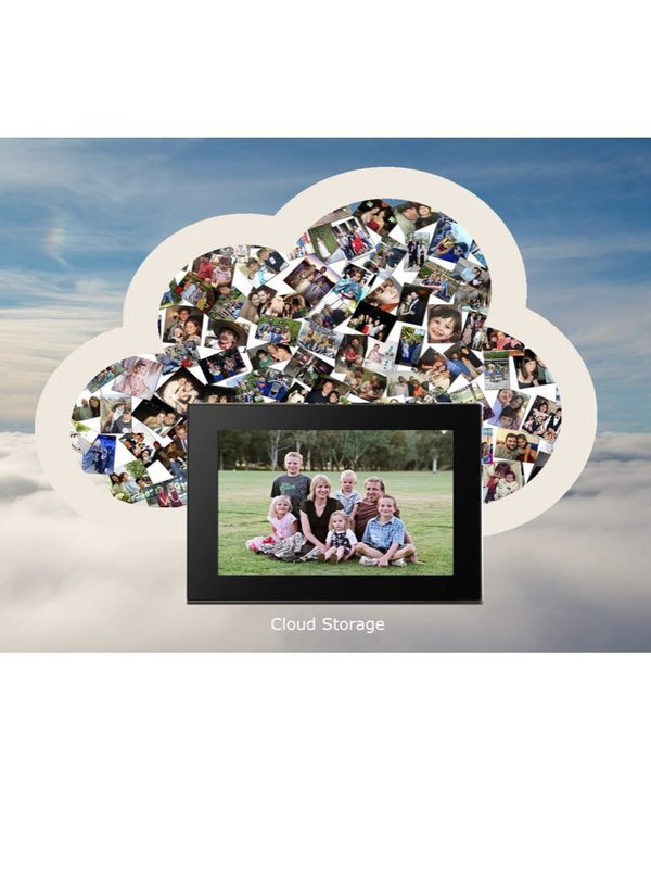 Smart WiFi Cloud Digital Photo Frame with IPS HD Display Touchscreen. Real-time