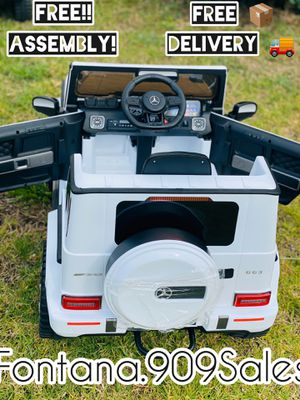12V Kids Ride On Car Mercedes G63 AMG White and Black LED LIGHTING This model features realistic LED front headlights. SOUND SYSTEM Equipped with MP for Sale in Fontana, CA