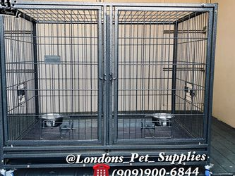 """NEW! 43"""" Heavy-Duty Dog Cage w/ Divider and Feeding Bowls (Kennel) (Crate) for Sale in Colton,  CA"""