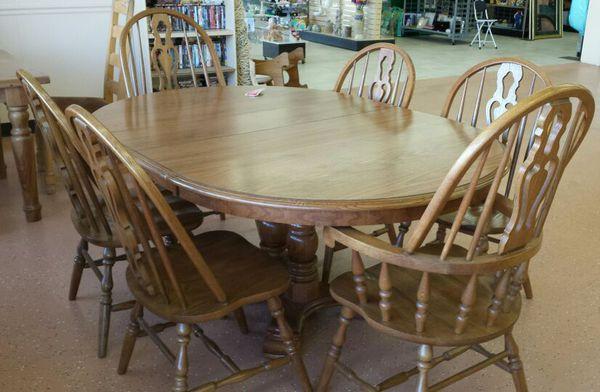 cochran oak pedestal dining table set w 6 chairs for sale