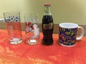 2003 COCA-COLA BOTTLE FROM LAS VEGAS, 2 DRINKING GLASSES, 1 mug for Sale in Hercules, CA