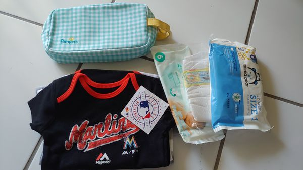 3 pcs Miami marlins baby clothes diapers maternity belt etc