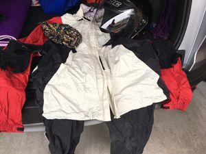 Motorcycle rain gear and helmet (size M) for Sale in Oak Park, IL