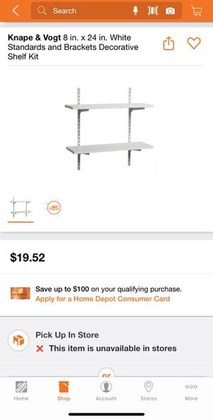 Knape & vogt 8 x 12 white shelf for Sale in Orland Park, IL