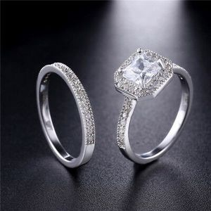 1.8 CTW Princess Cut 925 Sterling Silver CZ Wedding Engagement Ring Set for Sale in Los Angeles, CA