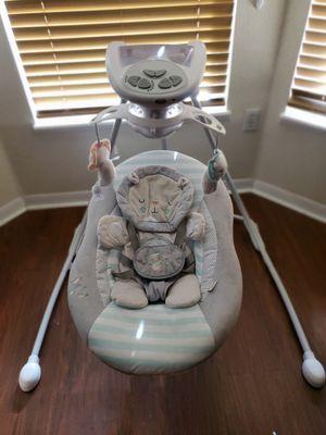 Ingenuity Inlighten Cradling Swing - Landry Lion - Foldable Plug-in Swing for Sale in Spring Hill, FL