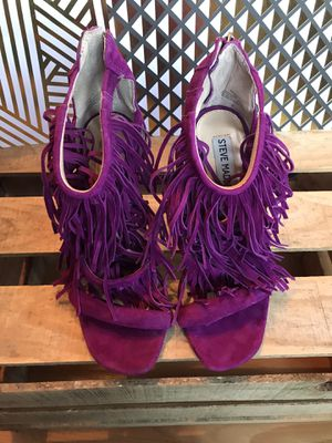 STEVE MADDEN purple/magenta leather fringe stiletto heels for Sale in Richmond, CA