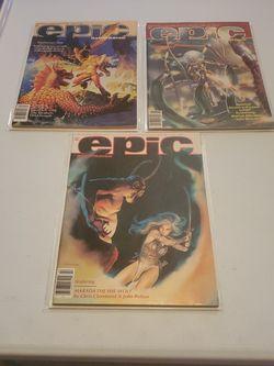 Epic Magazine #5 April, #6 June 1981, And #10 February 1982, Hildebrandt, Harlan Ellison, Chris Claremont, Fantasy, Horror, Marvel Comics Lot for Sale in Fresno,  CA