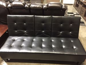 Faux Leather Futon with Cupholders, Black for Sale in Downey, CA