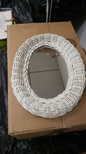"""White wicker mirror 12"""" by 8"""" for Sale in Greer, SC"""