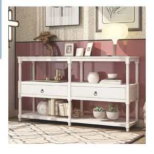 Tenozek Retro Style Console Table Sofa Table with 3-Tier Open Storage Shelf and Two Drawers Rustic Entryway Table for Living Room, Hallway, Dining Roo for Sale in La Puente, CA