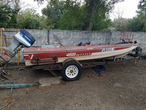 1979 Terry 460CM fiberglass bass boat, evinrude 70 motor needs new starter with title for Sale in Orlando, FL