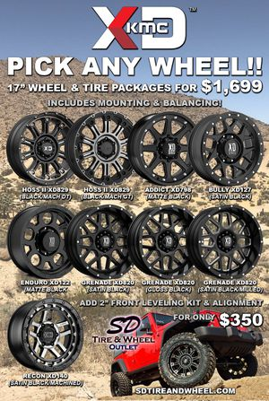 """17"""" XD Wheel & Tire Package with All Terrain Tires (Includes Mounting & Balancing) 4 Brand New Wheels/Tires. Fits Jeep Wrangler/Gladiator for Sale in San Diego, CA"""