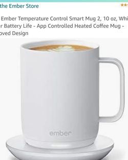 NEW Ember Temperature Control Smart Mug 2, 10 oz, White, 1.5-hr Battery Life - App Controlled Heated Coffee Mug - Improved Design for Sale in Brentwood,  CA