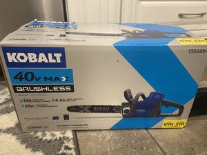 Brand New COBALT 40V Max Brushless cordless chainsaw kit. Lithium ion Battery and charger included. for Sale in Sumner, WA