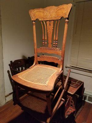 Antique oak/wicker rocking chair for Sale in Adelphi, MD