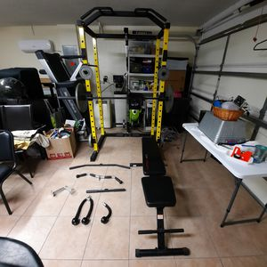 Hulkfit 1000 Pound Power Cage With Lat-Pull down Cable system and all other equipment shown for Sale in Wimauma, FL