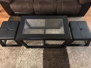 Coffee table with nesting stools for Sale in Sterling, VA