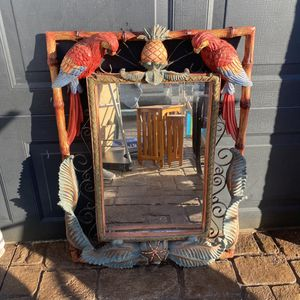 Carved Wooden Parrot Tropical Mirror for Sale in Punta Gorda, FL