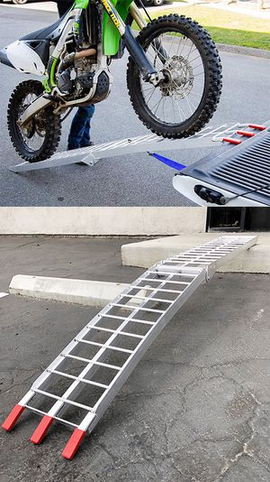 New $60 Single 7.5ft Aluminum Motorcycle Folding Loading Ramp Street Dirt Bike 750Lbs Rated for Sale in Whittier, CA