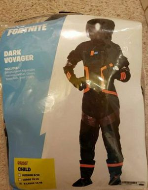 Fortnite Dark Voyager child costume size x-Large(14-16 years) like new just used to hand out candy on Halloween. From a smoke pet free home for Sale in West Jordan, UT