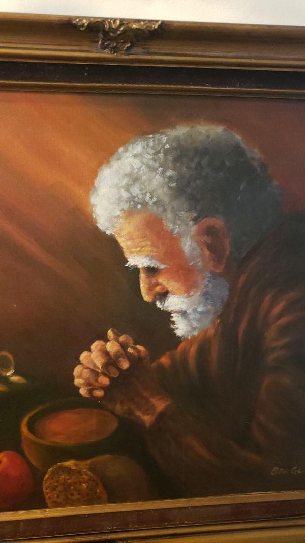 Old man praying 28.5 X 24.5