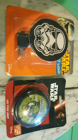 NIB NEW 2 LOT SET Star Wars night light LED push light Stormtrooper Yoda master do or do not there is no try kids children boys girls gift toy for Sale in Scottsdale, AZ