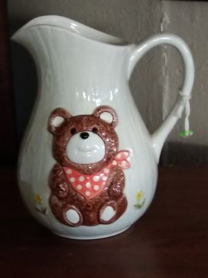 Porcelain teddy bear pitcher small for Sale in Fort Worth, TX