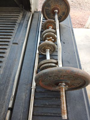 80 lbs standard weights plus various bars for Sale in Phoenix, AZ