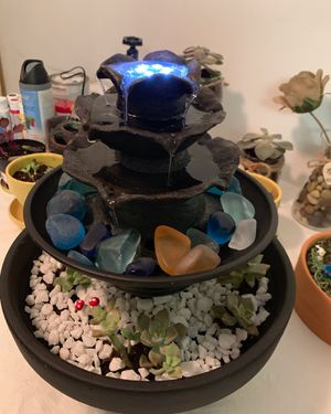 Water Fountain/Sound/LED lights with Succulents for Sale in Pembroke Pines, FL