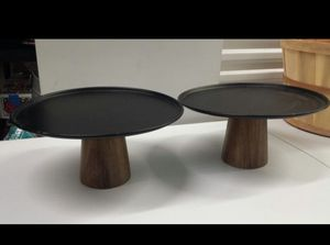 Metal cake stands with wood base or for other home decor uses. Both for $15 for Sale in Pasadena, TX