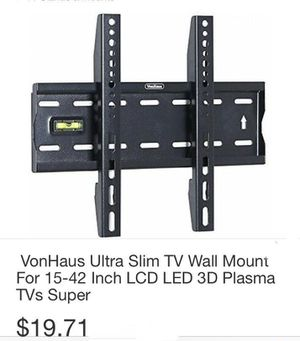Von Haus Ultra Slim TV Wall Mounting Bracket for 15-42in LCD 3D Plasma Tv Super Bracket for Sale in South Gate, CA