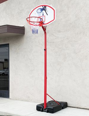 "(NEW) $75 Basketball Hoop w/ Stand Wheels, Backboard 32""x23"", Adjustable Rim Height 6' to 8' for Sale in South El Monte, CA"
