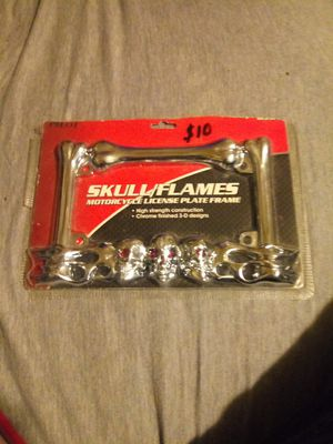 Motorcycle license plate frame. Skull\flames for Sale in Douglassville, PA
