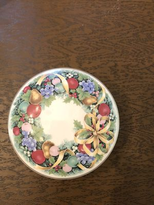 Mikasa holiday orchard trinket box, candy dish, Holiday decoration, Christmas decor, round ceramic dish with lid for Sale in Charlottesville, VA