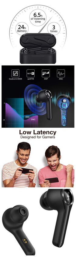 Funcl AI Bluetooth TWS Headphones Waterproof Earphones with 3D Stereo AptX CVC 8.0 for Sale in Davie,  FL