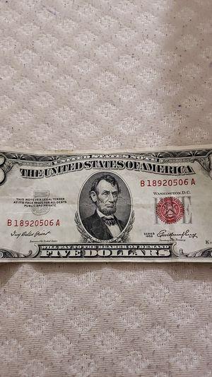 5 dollar bill 1953 b for Sale in Melrose, MA