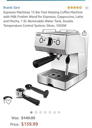 Coffee maker espresso machine cappuccino machine for latte mocha home barista with milk frothing function good for Sale in Pomona, CA