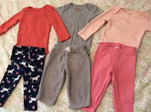 Carters 6 months baby girl onesies and pants 9 mo for Sale in Los Angeles, CA