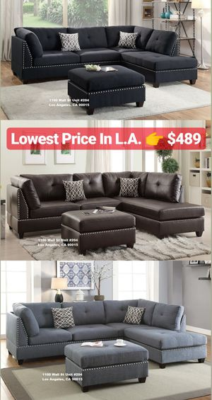 Real Showroom 😁 We Finance - Reversible Chaise Couch Sofa Sectional With Ottoman for Sale in Los Angeles, CA