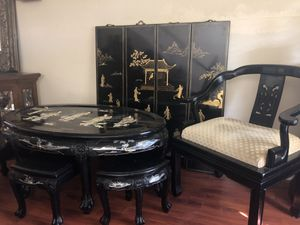 ORIENTAL TABLES/(6) chairs/panels and (1) accent chair for Sale in St. Cloud, FL