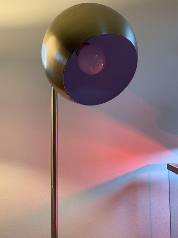 Metal Globe Floor Lamp in Brass
