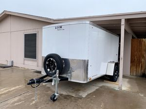 2019 - enclosed 10 L x 6 W x 5 H white look trailer available for sale luxury new tires and wheel for Sale in Mesa, AZ