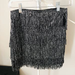 H&M silver tiered fringe mini skirt for Sale in Boston, MA