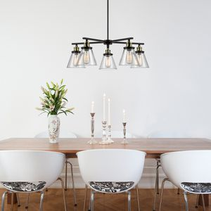 Globe Electric Shae 5-Light Oil Rubbed Bronze & Antique Brass Vintage Edison Chandelier, 65617 for Sale in Houston, TX