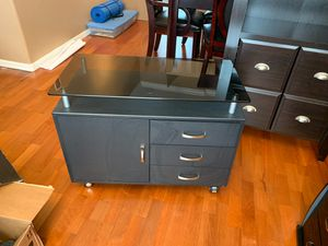 TechniMobili Glass top rolling office printer storage cabinet . Great condition for Sale in Lutz, FL