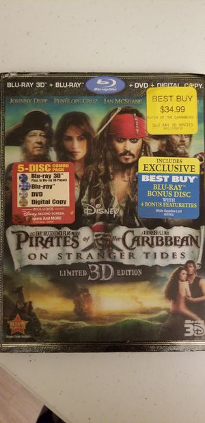 Like new Bluray 3D +bluray & dvd Pirates of the Caribbean stranger tides reg price $35 for Sale in Greenville, NC