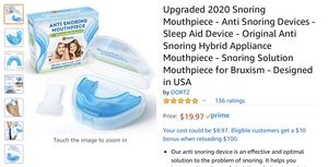 Upgraded 2020 Snoring Mouthpiece - Anti Snoring Devices - Sleep Aid Device - Original Anti Snoring Hybrid Appliance Mouthpiece - Snoring Solution Mou for Sale in Temecula, CA